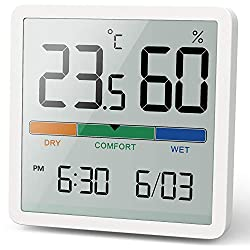 NOKLEAD Hygrometer Indoor Thermometer, Desktop Digital Thermometer with Temperature and Humidity Monitor, Accurate Humidity Gauge Room Thermometer with Clock for Home Garage Greenhouse Wine Cellar