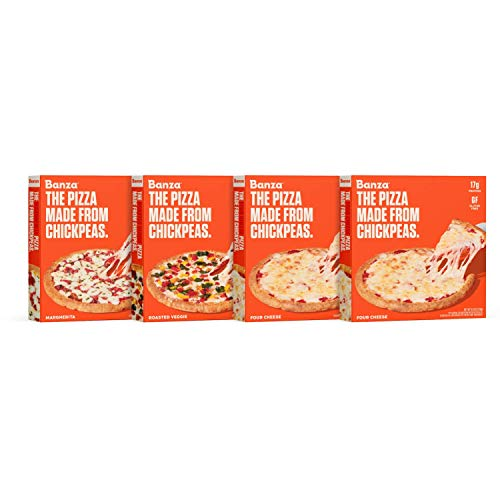 Banza Chickpea Frozen Pizza Variety Pack (Four Cheese, Margherita, Roasted Veggie) - High Protein Chickpea crust, Gluten Free
