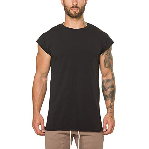 Men's Cap Short Sleeve Tees Slim Fit Athletic Bodybuilding T-Shirts Loose Fit T Shirt Blouse by Lowprofile Black