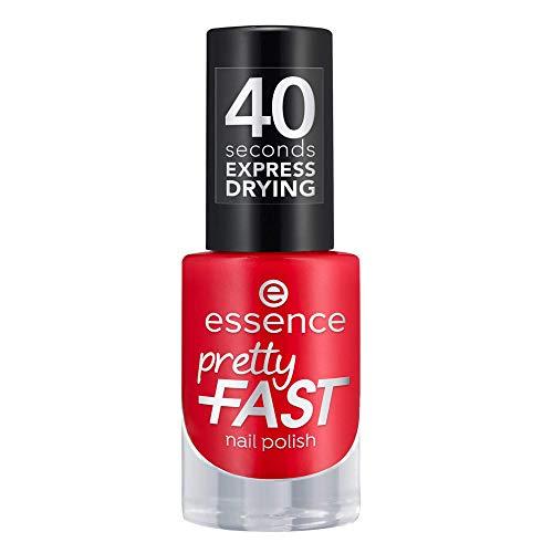 essence pretty FAST nail polish, Nailpolish, Nagellack, Nr. 03 Ready Steady Red, rot, schnelltrocknend, farbintensiv, ohne Aceton, vegan, Mikroplastik Partikel frei (5ml)