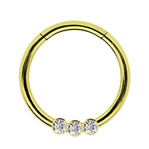 Piercing Smooth Segment Ring Clicker Stahl Gold mit 3 Steinen in 1,2 x 10 mm