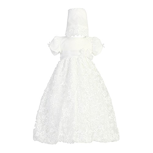Long White Embroidered Satin Ribbon Tulle Baby Girl Christening Baptism Special Occasion Newborn Dress Gown with Matching Hat - S (3-6 Month, 8-12 lbs)