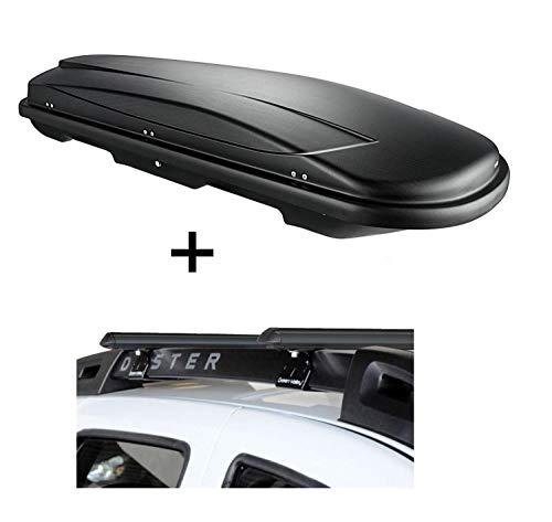 VDP Dachbox VDPJUXT400 400Ltr schwarz abschließbar + Stahl Relingträger Aurilis Original kompatibel mit Dacia Duster mit Reling 5 Türer 2014-2017