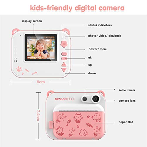 Dragon Touch InstantFun Instant Print Camera for Kids, Zero Ink Toy Camera with PrintPaper, CartoonSticker, ColorPencils, Portable Digital Creative Print Camera for Boys and Girls - Pink