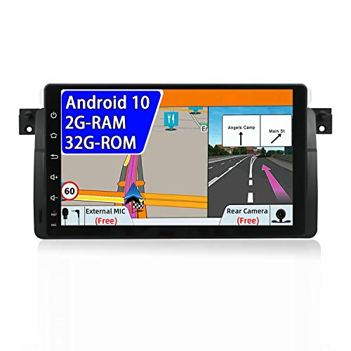 JOYX Android 10 Autoradio Compatible para BMW E46 M3 3 Series(1998-2005) - Gratis Canbus Cámara Trasera - [2G+32G] - 1 DIN 9 Pulgada - Apoyo Dab 4G WLAN Bluetooth5.0 MirrorLink Carplay Google Volante