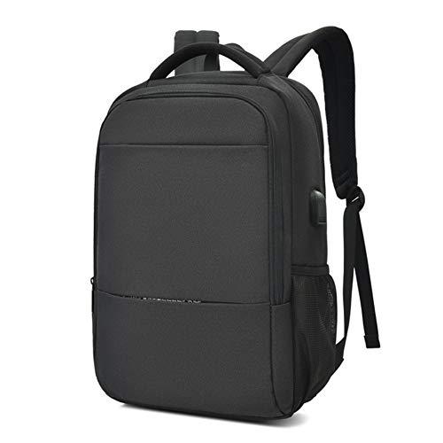 ラップトップバックパック、耐久性のあるビジネスラップトップバックパック、USB充電ポート付きの大型ビジネスバッグ、15.6インチラップトップ(ブラック),黒