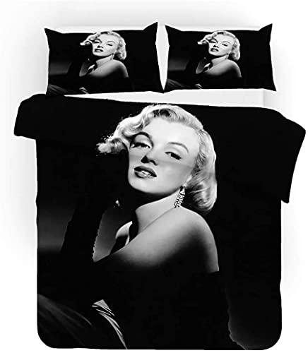 Marilyn Monroe Juego de ropa de cama, impresión digital 3D, adecuado para jóvenes y adultos, juego de 3 piezas (Marilyn Monroe2, 140 x 210 cm + 50 x 75 cm x 2)