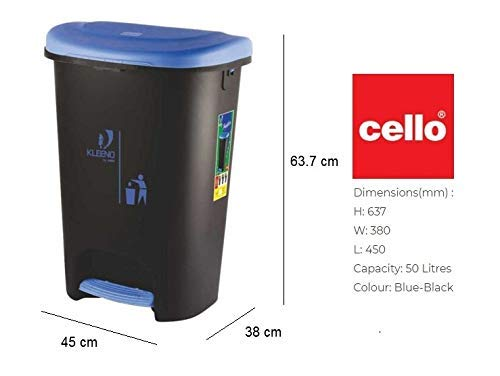 Cello Plastic Pedal Garbage Dustbin 50 Ltr,Black-Red