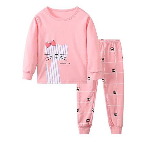 Pijamas de Dos Piezas para Niños y Niñas Conjunto de Pijama Algodón Camiseta de Manga Larga y Pantalones Largo Ropa de Dormir Otoño Invierno