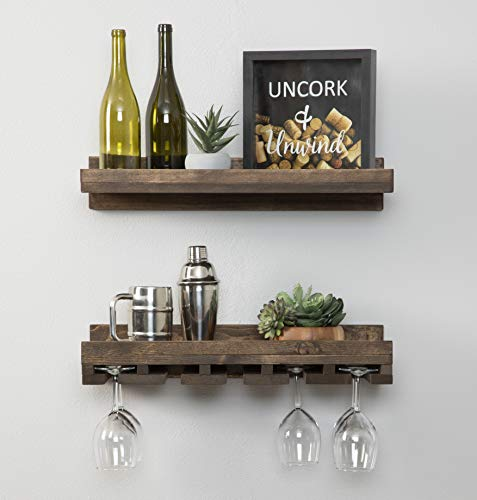 Floating Wine Shelf and Glass Rack Set (Wall Mounted), Rustic Pine Wood Handmade by del Hutson Designs (6H x 24W x 10D, Dark Walnut)