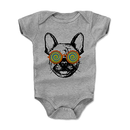 Bald Eagle Shirts French Bulldog Baby Clothes, Onesie, Creeper, Bodysuit - Frenchie Shades (Heather Gray, 3-6 Months)