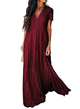 AZOKOE Women Formal Floral Lace Evening Party Maxi Dress V Neck Short Sleeve Swing Bridesmaid Gown Wine Red L