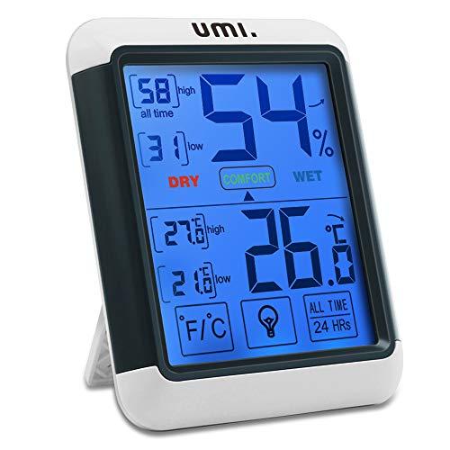 Umi. by Amazon - Termometro Igrometro Digitale Professionale Termometro Ambiente Interno Misuratore Temperatura e Umidità con Memoria Massima Minima e RetroillUminazione, Monitor di Comfort Casa
