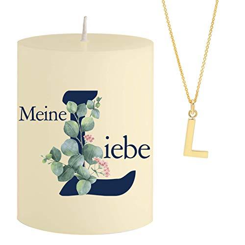 Vela con Mensaje de la Palabra L iebe de Schmuck, Collar de Oro Escondido con Letra L, Vela aromática, Aroma de sándalo y Naranja, Color Amarillo