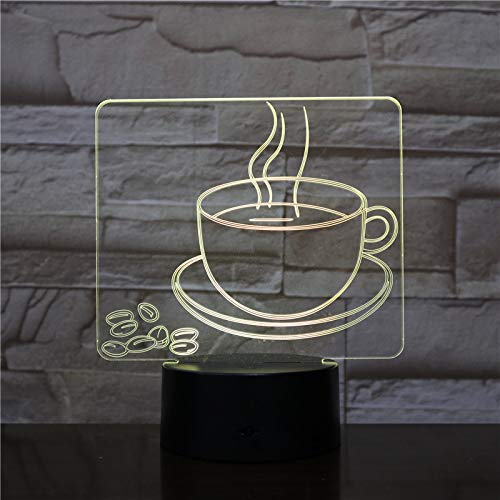 ERBEIOU Hot Coffee Cup 3D Illusion Lamp for Kids Boys Girls Gift 3D Night Light for Bedroom Beside Table, 16 Colour Changing LED Mood Lamp Desk Table Lamp Children Gift
