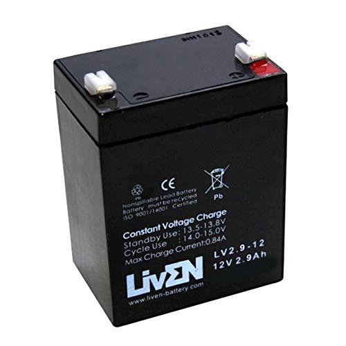 Batería AGM 12V 2.9Ah C-20 Sin Mantenimiento - Equipos Seguridad/Médicos/SAI/Comunicación/Emergencia | LIVEN LV2.9-12