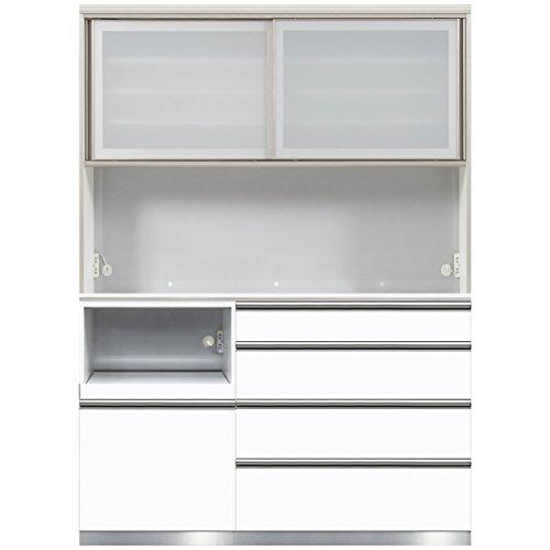 綾野製作所 食器棚SLA 【幅150×奥50×高さ207cm】 SLA-150L ホワイト鏡面 【4梱包】