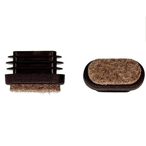 Filzgleiter Dekaform Fi-101-Fl-Ov Bodenschoner Filz Stopfen Möbelgleiter für Linoleum Fliesen Marmor Parkett Dielen Holz Fußboden Stuhlgleiter bei Flach Oval Rohr 30x15 schwarz