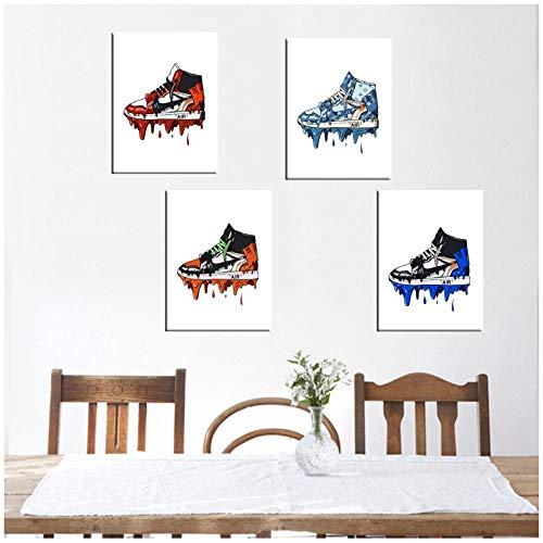 MULMF Wandkunst Gemälde Hd-Druck Sneaker Schuhe Mode Geschichte Leinwand Poster Für Wohnzimmer Wohnkultur- 30X40Cmx4 Ungerahmt