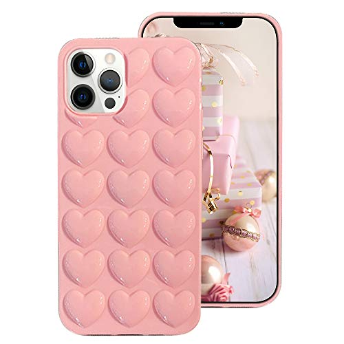 Guppy Kompatibel mit iPhone 12 Pro Max Frauen Mädchen 3D Bubble Heart Case Cute Jelly Full Body Kawaii Love Shaped Soft Silikon Rubber Slim Bumper Schutzhülle Case 6.7 Zoll Pink