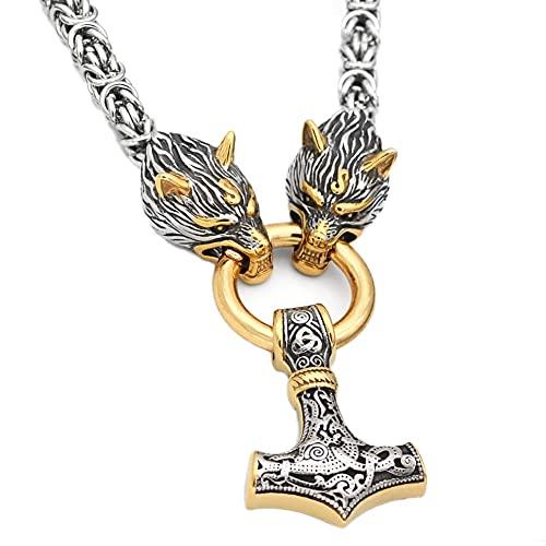 Viking Thor's Hammer Mjolnir Colgante Collar Cabeza Lobo De Doble Color, Cadena Rey Bizantino Acero Inoxidable para Hombres, Mitología Nórdica Odin Fenrir Crow Tótem Joyería