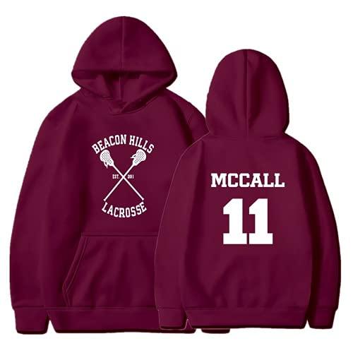 ZIBADTAL Teen Wolf Felpa con cappuccio McCall 11 Lacrosse Stilinski 24 Lahey 14 Stampa Pullover Poliestere Felpa, vino rosso 1, XX-Small