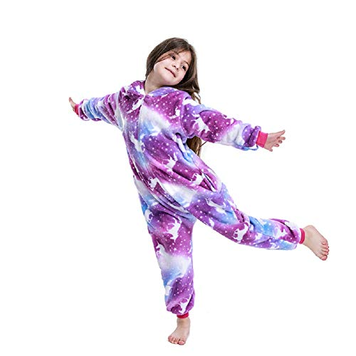 NewPlush Kids Unicorn Onesie Animal Pajamas Halloween Costume Purple Night Zippern Kids-8