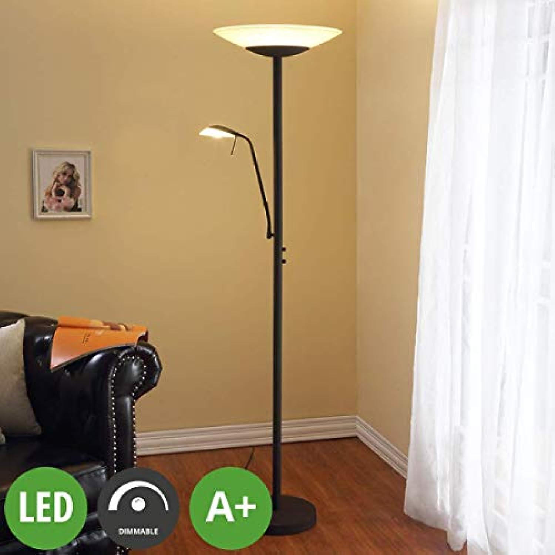 Lampenwelt LED Stehlampe 'Ragna' dimmbar (Landhaus, Vintage, Rustikal) in Braun aus Glas u.a. für Wohnzimmer & Esszimmer (2 flammig, A+, inkl. Leuchtmittel) - Wohnzimmerlampe, Stehleuchte, Floor Lamp