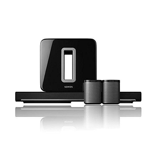 Sonos 5.1 Heimkino Set l System mit einer PLAYBAR, einem SUB und einem Paar PLAY:1 (schwarz)