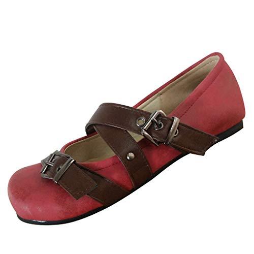 TUDUZ Damen Ballerinas mit Gürtelschnalle, Riemchensandalen, Lässige Arbeitsschuhe, Schwangere Schuhe, Einfarbig Sommer Comfort Schuhe Sandalen Bunt Gr. 35-43(Rot,36 EU)