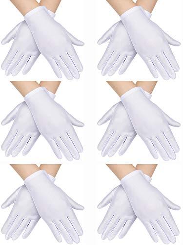 6 Paar Kinder Kostüm Handschuhe Spandex Handschuhe Anziehhandschuhe für Kinder Halloween Kostüm Zubehö (Weiß)