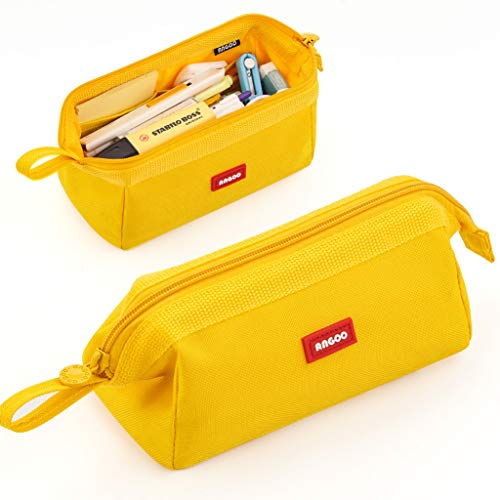 ANGOOBABY Large Capacity Pencil Case Pencil Pouch Bag for Teen Boy Girl School Student (Yellow)