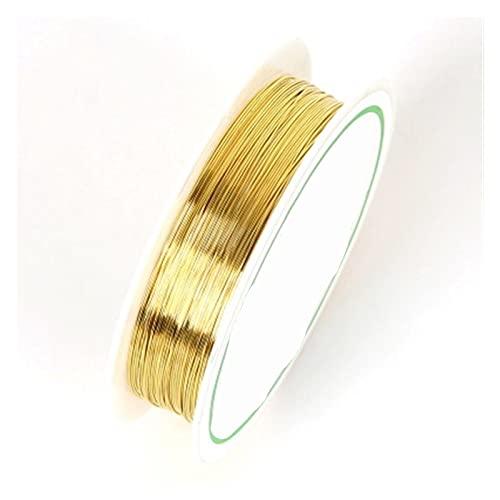 YJDLC Alambre de Cuentas de Cobre Colorfast de Cobre del Color para la Pulsera Collar de joyería de Bricolaje DIY Accesorios Craft Beading Wire Plástico/Flexible (Color : Gold, Size : 1mm approx1.5M)