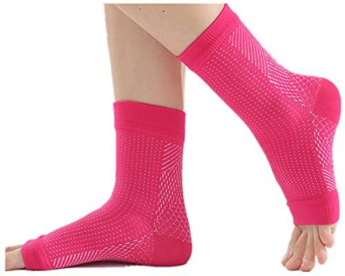 VDSVD 3 pares de calcetines de compresión, calcetines de compresión para hombres y mujeres, soporte para el pie para correr, viajar, ciclismo, promoción de la circulación sanguínea (rojo, L/XL)
