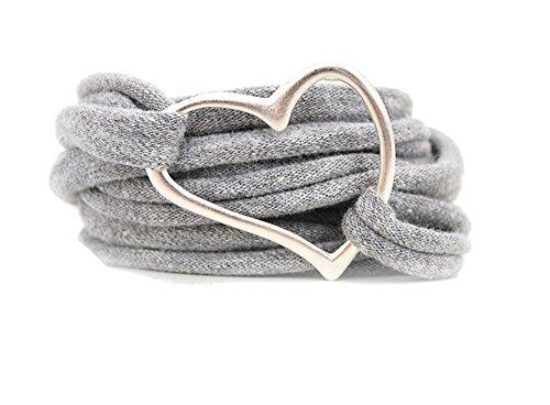 Armband Wickelarmband Stoff grau meliert oder in Wunschfarbe 60 Varianten mit Herz silber individuelle Geschenke mit Liebe zum Valentinstag