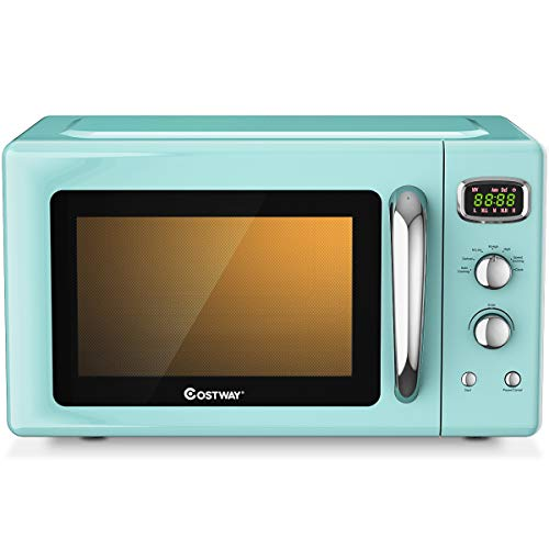 COSTWAY Retro Countertop Microwave Oven, 0.9Cu.ft, 900W Microwave Oven, with 5 Micro Power, Defrost & Auto Cooking Function, LED Display, Glass Turntable and Viewing Window, Child Lock