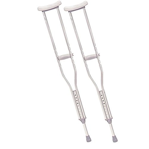 Drive Medical Aluminum Crutch with Comfortable Underarm Pad and Handgrip, Gray, Adult