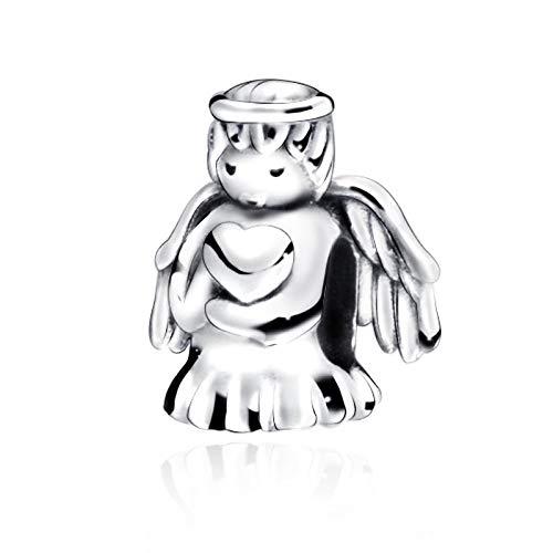 Pendentif en Argent 925 pour Femme,Fashion Cute Loving Angel Fit Magnifiquement Forme Collier Bracelet Perles De Charme pour Dames Le Cadeau d'anniversaire De Colocalisation Robe Présent Festival