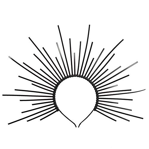 GRACEART Sunburst Halo Crown Stirnband Damen Haarreif Party Kostüm Accessoires (C-schwarz)