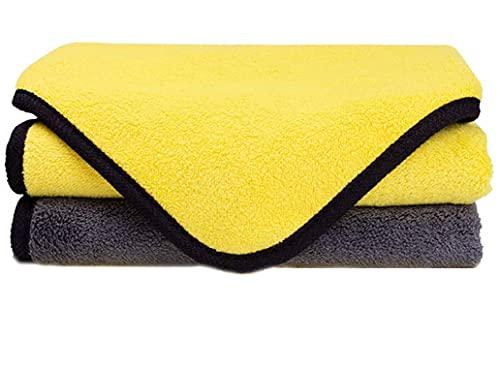 DILISEN Toallas de Microfibra para Limpieza de Autos, Super Absorbente Doble Capa Coche paños Toalla para Coche Pulido y Secado, 2 Unidades