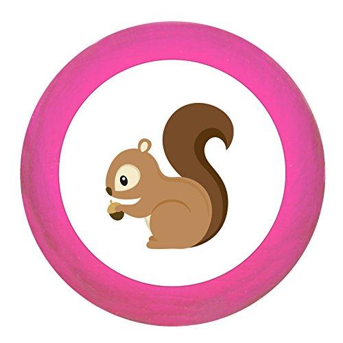 Schrankgriff Eichhörnchen pink Holz Kinder Kinderzimmer 1 Stück Waldtiere