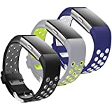 Jobese Compatible with Fitbit Charge 2 Bands, 3 Pack Soft Breathable Silicone Adjustable Sport Replacement Wristbands Compatible with Fitbit Charge 2 Bands for Women Men Large Small