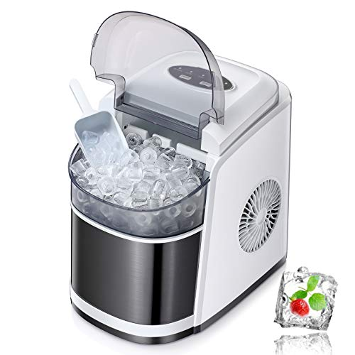 Antarctic Star Ice Maker Machine Countertop,Portable Automatic 9 Ice Cubes Ready in 8 Minutes,Makes 26 lbs of Ice per 24 Hours,Self-clean,See-through Lid For Home/Bar/Party White