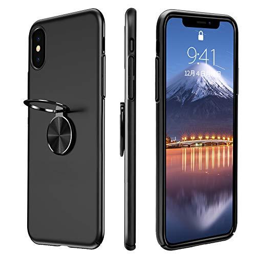 iPhone X ケース Baseus iPhone X カバー アイフォンXケース 指紋防止 高品質なPC バンパーケース リング付き スタンド機能 マグネット 車載ホルダー対応 軽量 衝撃防止 擦り傷防止 高級感 薄型 iPhoneX用 カバー 携帯カバー(ブラック)