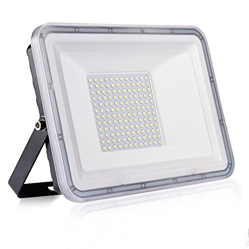 100W Proyector LED exterior IP67 Impermeable Foco exterior 10000 lumen 6500K Blanco frío Iluminación Led Floodlight para Jardín Garaje Balcón Césped [Clase de eficiencia energética A++]