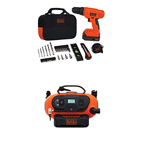 BLACK+DECKER BDINF20C 20V Lithium Cordless Multi-Purpose Inflator (Tool Only) with Black & Decker BDCD120VA 20V Lithium Drill/Driver Project Kit