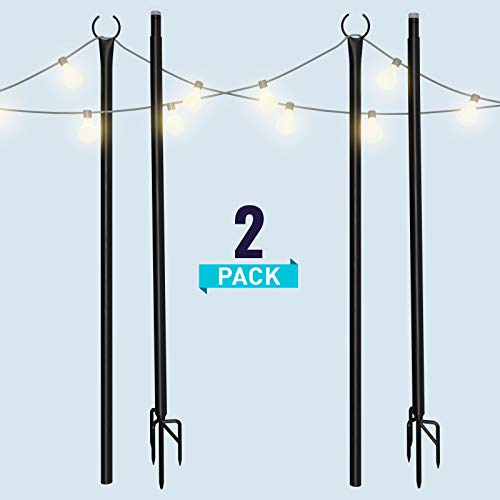 Holiday Styling: String Light Poles for Outdoors (2 x 9ft) Twist Connection Pole to Stay Straight + Strong for LED Hanging Solar Bulbs for House Garden Patio Wedding Cafe Party