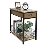 Narrow End Table with Drawer,Industrial Retro Side Table for Small Spaces,Nightstand Sofa Storage Shelf for Living Room Bedroom Kitchen and Office(Rustic Brown & Black)