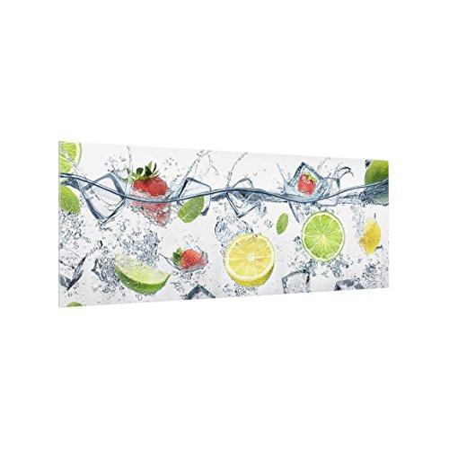Bilderwelten Panel antisalpicaduras de Cristal - Fruit Cocktail - Panorámico, Panel antisalpicaduras...