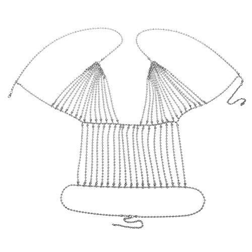 YWRD kettengürtel Silber körperkette Gold Goldener Bikini Strandkette Bauchkette für Frauen Taille hintere Halskette Diamante Halsreif Silver,Chest